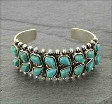 """NWT Natural Stone Turquoise """"C"""" Cuff Bracelet Double Row Stones"""