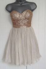 BNWT New LIPSY Cream Gold Sequin Bustier Organza Prom Skirt Party Dress 8 £70