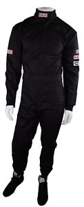 RJS RACING SFI 3.2A/5 NEW 1 PIECE RACING FIRE SUIT ADULT LARGE BLACK