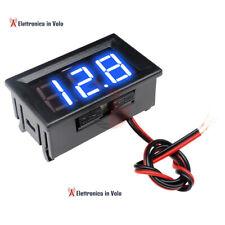 VOLTMETRO DIGITALE 4,5-30V LED BLU DA PANNELLO MOTO,AUTO,CAMPER,IMBARCAZIONI.
