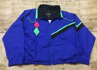 Casual Club VTG 90s Nylon Jacket Color Block Blue Neon Pink Green Womens Medium