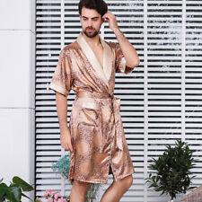Men Satin Bathrobe Sleepwear Long-sleeved Kimono Silky Nightgown Print Pyjama