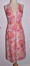 FIORI DI ZUCCA Womens FLORAL SILK BLEND TIE HALTER DRESS SILK LINING New SIZE 8