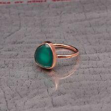 Gemstone Green Onyx Handmade Ring Oval Shape Rose Gold Plated Women Ring