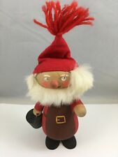 Vintage Wooden Santa Claus Figurine Hand Painted Hand Made Christmas Ornament