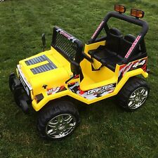 KIDS 12V RAPTOR ELECTRIC RIDE ON CAR 4X4 JEEP | 2-SEATS | REMOTE CONTROL YELLOW