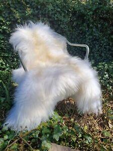 XXXL Huge Fluffy Icelandic Ice White Sheepskin Rug - Genuine 130cm by 80cm A+++
