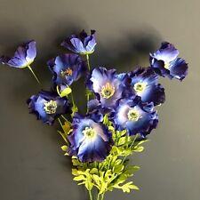 9 Azul Seda De Imitación amapolas, flores silvestres Prado Amapola Artificial
