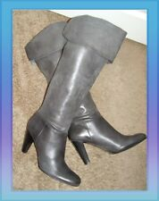 EUC Over the Knee Calvin Klein sz 9 Gray Leather Boots Pull On Cuffed Knee high