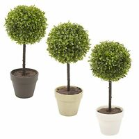 2x Potted Buxus Box Ball Plant Decorative Artificial Indoor Outdoor Garden Pot