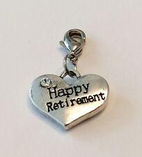 SILVER HAPPY RETIREMENT HEART + RHINESTONE  CLIP ON CHARM -TIBETIAN SILVER - NEW