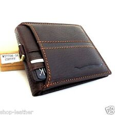 Men's Real Leather Wallet Credit Card Slots id Windows Bill Compartments Bifold