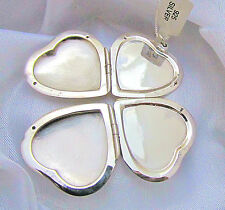 Solid 925 Sterling Silver 4 Way Heart Locket Pendant Box Chain Necklace Gift Box