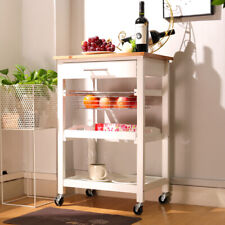 Small Wood Kitchen Storage Serving Trolley Cart with Fruit Basket/ Tray / Drawer