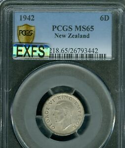 1942 NEW ZEALAND SIX PENCE PCGS MAC MS65 MAC EXFS VERY RARE IN THIS GRADE *
