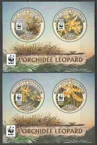 NW0580 2016 TOGO WWF LEOPARD ORCHIDS FLOWERS #7699-7702 BL1349-1350 MNH