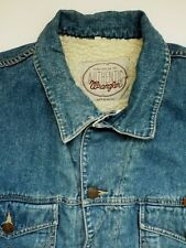 WRANGLER SHERPA DENIM JACKET MENS FAUX SHEEPSKIN MID BLUE XL LJKTA376
