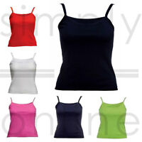 New Plain Sleeveless Ladies Stretch Strappy Cami Camisole Vest Tank Top