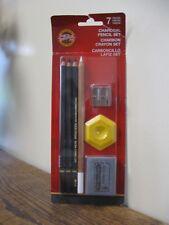 New! Koh I Noor Charcoal Pencil Set. 7 Pieces FA8834