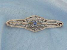 Antique 14K Yellow Brooch, 3mm Sapphire, 41mm X 12mm