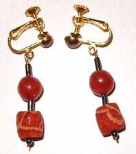 Red Sponge Coral Earrings Carved Beads Gold Tone Screwback