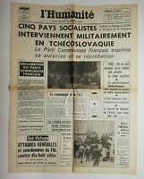 N678 La Une Du Journal L'humanité 22 août 1968 cing pays socialistes