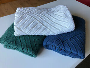 Weißes Schultertuch gestrickt - 100% Baumwolle - Lace-Stola - Handarbeit