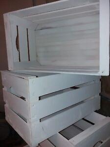 Set 6 cassette frutta nuove in legno finitura BIANCO PASTELLO 50x30x27 2kg