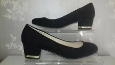 DOROTHY PERKINS BLACK SHOES SIZE 4 SUEDE MID BLOCK HEEL GOLD TRIM SMART OFFICE