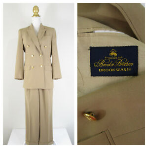 Vintage Brooks Brothers Womens Tan Beige Double Breasted Wool Pant Suit Size 4 6