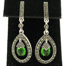 NEW Petite Sterling Silver Tear Drop Emerald & Marcasite Halo Dangle Earrings