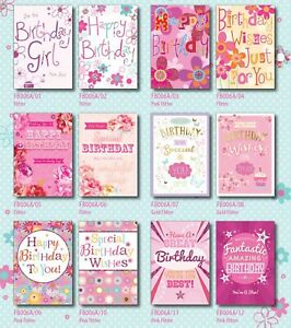 29p! LOWEST PRICE MODERN BIRTHDAY CARDS FREE POST 6 DESIGNS x 6, B/DAY, WRAPPED