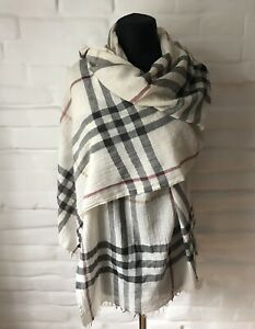 Authentic BURBERRY Women's Scarf Nova Check Long Wool/Cashmere 210/60cm!