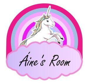 Unicorn Rainbow Personalised Door Name Plaque Boy or Girls Bedroom Room Sign