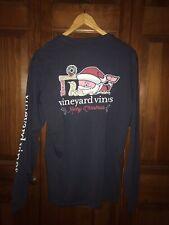 Mens Vineyard Vines Blue Santa Whale XLT Long Sleeve Shirt