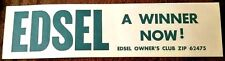 Vintage Ford Edsel Large Size Bumper Sticker - Rare & Mint!