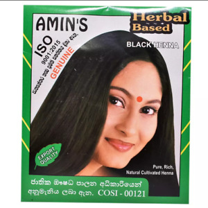 Amin's Herbal Based Black Henna Powder Box (05 Packs -10g x  5) For Young Look