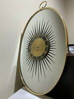 Vintage Sunburst Wall Clock Mirror - 8 Day (Size) Not Working (Shipped)