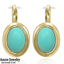 14k Solid Yellow Gold Genuine Turquoise Russian Style Earrings #E1325