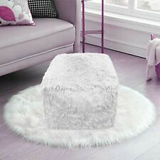 Teddy Cuddles Bean Bag Chunky Pouf Cube Indoor Outdoor Foot Rest Pouffe WHITE