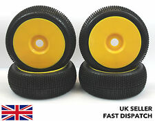 4 x Yellow Solid Wheels & Mini Spike Tyres for 1/8th Buggy/Car RC *PRE GLUED*