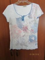 One World Top Sz L Large Floral & Beaded Polyester & Cotton Bust 40 Length 24.5