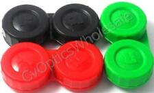 3x Contact Lens Soaking Storage Case Black/Green/Red