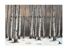 "ORIGINAL ACEO PAINTING ""BIRCH IN DUSK"" TREES, FARM LANDSCAPE PRINT By Anthony D"