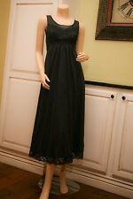 VINTAGE SHADOWLINE Black Nylon Lace Nightgown Gown PETITE 32 GORGEOUS ! EVC