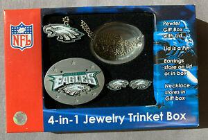 Philadelphia Eagles 4-in-1 Jewelry Trinket Box w/ Necklace and Earrings Lid Pin