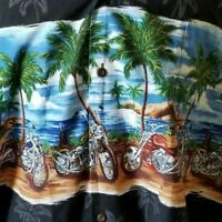 Ky's Hawaiian Shirt 3XL Made In Hawaii Black Motorcycle Volcano Palm Trees Aloha