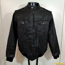 STRUCTURE PVC Faux Leather Jacket Mens Size XL Black cafe racer insulated