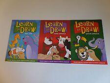 Learn to Draw - Farm & Safari Animals Sea Life - Trace Draw Color 3 Books NEW
