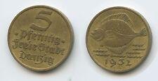 G9636 - Polen Danzig 5 Pfennig 1932 KM#151 Fisch RAR Poland Polskich Polska